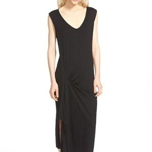 Trouve Dress Black Small Gathered Stretch Midi